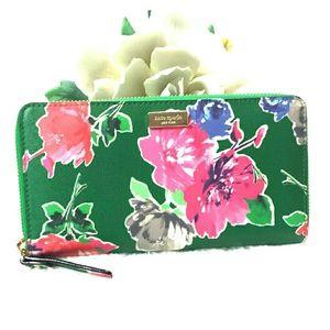 Kate Spade Green Pink Floral Wallet